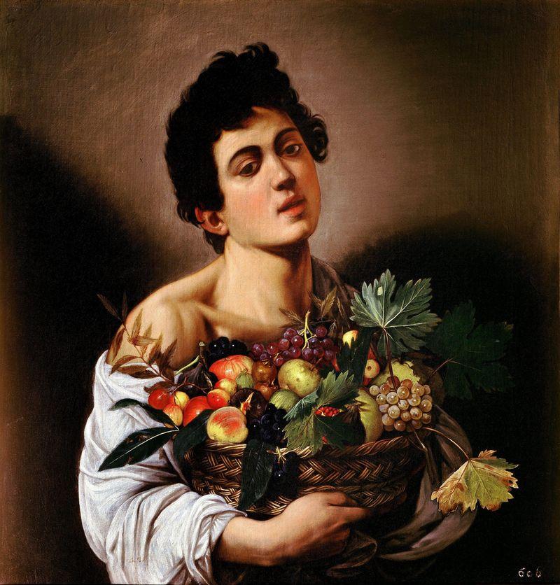 Boy with a Basket of Fruit, c.1593, by Michelangelo Merisi da Caravaggio.