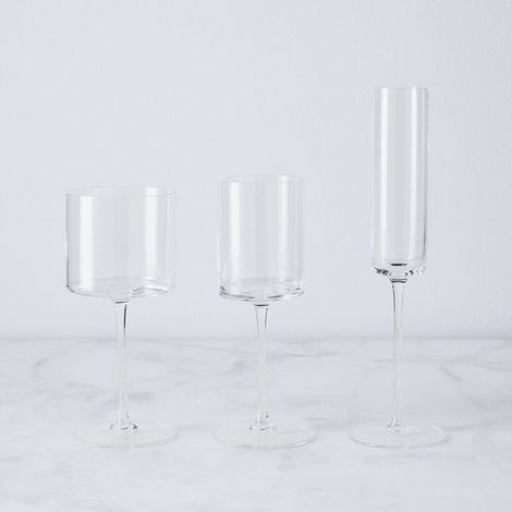 Hand-Blown Modern Wine Glasses (Set of 4)