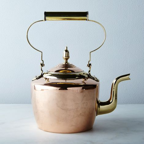 Vintage Round Brass and Copper Tea Kettle, Late 19th Century