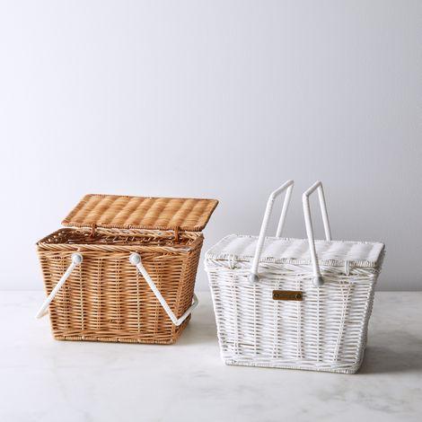 Mini White & Brown Rattan Picnic Basket