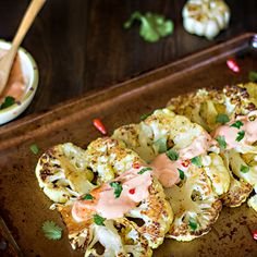 Cauliflower Steaks with Cilantro and Hot Pepper Aioli
