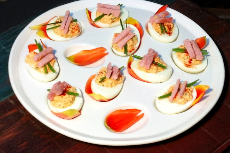 Deviled Eggs, truffled with ham and scallions