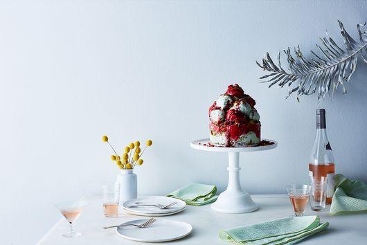 Pistachio-Raspberry Gelato-Sorbetto Cake
