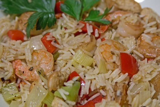 Jambalaya With Garlic Shrimp and Sauteed Chicken