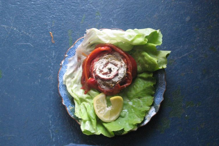 Roasted Red Pepper Spirals filled with Seafood