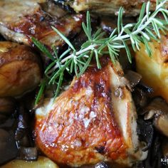 Chicken Breasts Roasted with Potatoes and Mushrooms