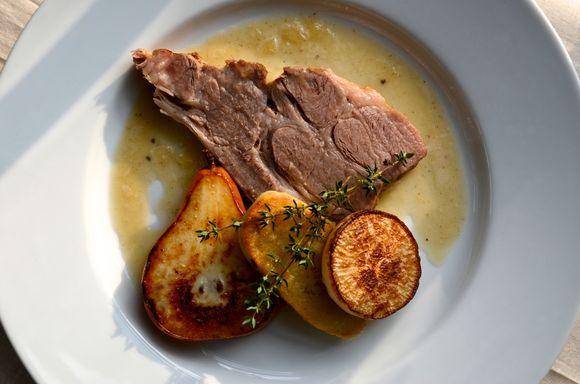 Braised Pork Roast with Onion Jus, Pears, Turnips and Potatoes