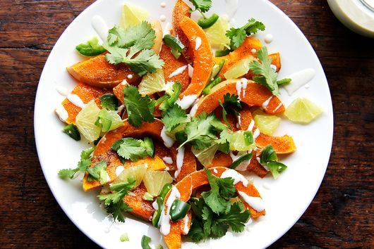 Roasted Butternut Squash with Sweet Spices, Lime, and Green Chile