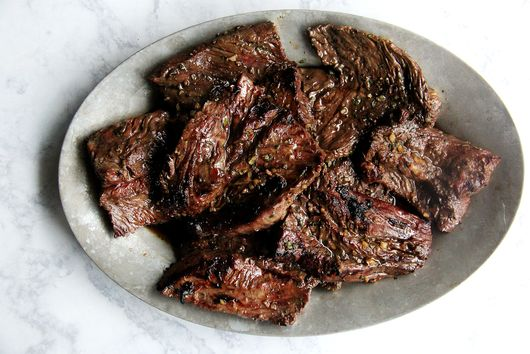 Simple Grilled Hanger Steak with Worcestershire, Garlic, and Thyme