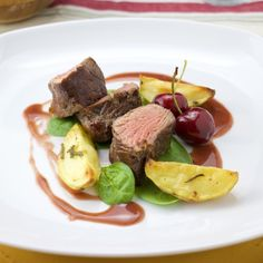 Beef tenderloin with a cherry and sherry sauce