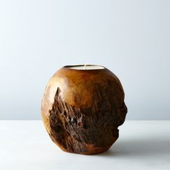 Spherical Teak Candle