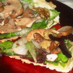 Glazed Walnuts, Mushroom & Greens on a Phyllo Tart Shell