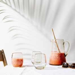 Recycled Glass Pitcher and Tumblers