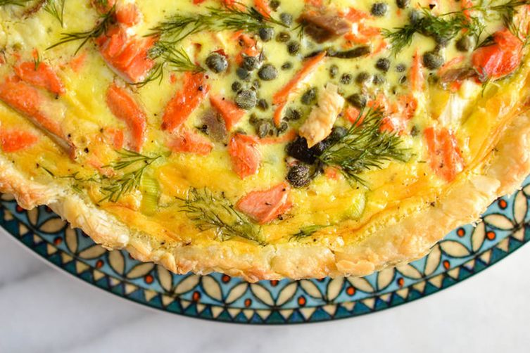 Salmon and Leek Quiche with Capers