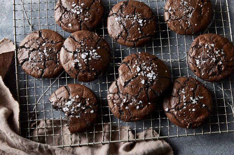 The chewiest, saltiest black licorice brownie cookies that ever were.