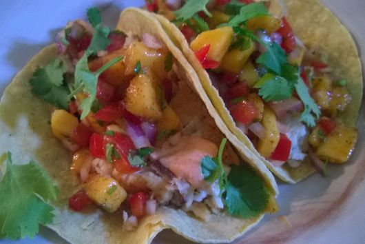 Fish Tacos with Chili Mango Salsa and Smoked Paprika Mayo