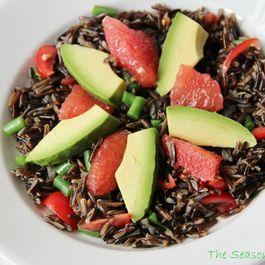 Wild Rice Salad with Green Beans, Cherry Tomatoes, Avocado & Grapefruit