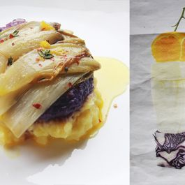 Baked chicory with orange butter sauce and red cabbage puree