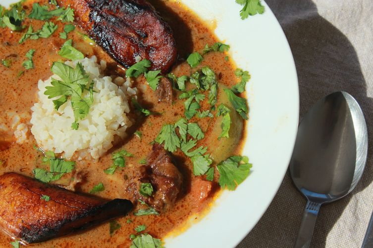 Pressure Cooker Spicy Curried Goat Stew with Pan Fried Sweet Plantains