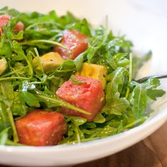 Arugula, Watermelon and Avocado Salad with Spicy Lime Vinaigrette