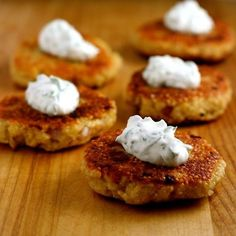 Quinoa Cakes with Basil-Chive Cream