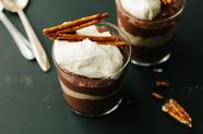 Chocolate-Peanut Butter Pudding with Candied Pretzels