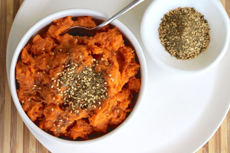Roasted and Mashed Sweet Potatoes with Clif Family Kitchen Classic Hazelnut Dukk