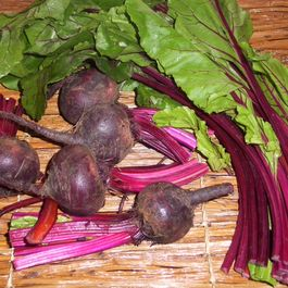 Roasted red beets with greens