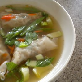 Chicken Wontons in a Ginger Soy Broth