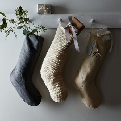 Grey Linen Stocking with Monogram Option