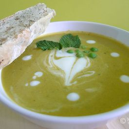 Creamy Roasted Carrot, Green Pea and Mint Soup