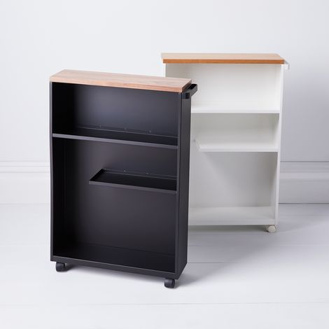 Wood & Steel Slim Storage Cabinet