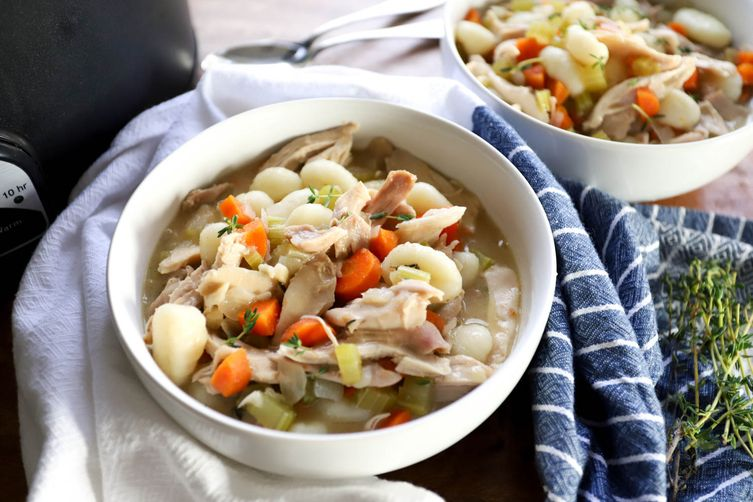 Super Easy Slow Cooker Chicken and Dumplings (with gnocchi!)