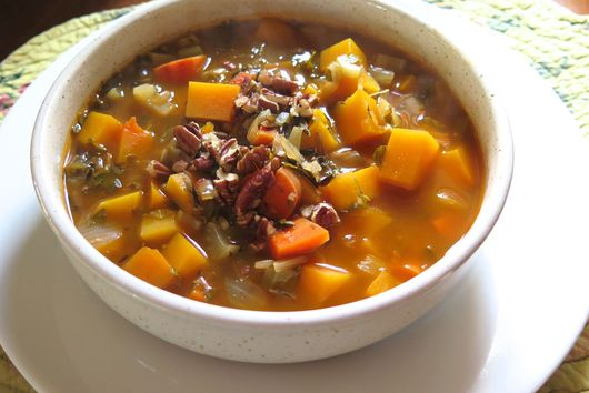 Butternut Squash-Wild Rice Soup with Toasted Pecans