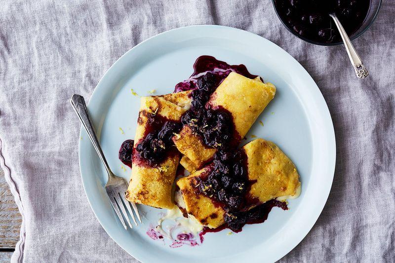 Mascarpone Blintzes with Blueberry and Lemon