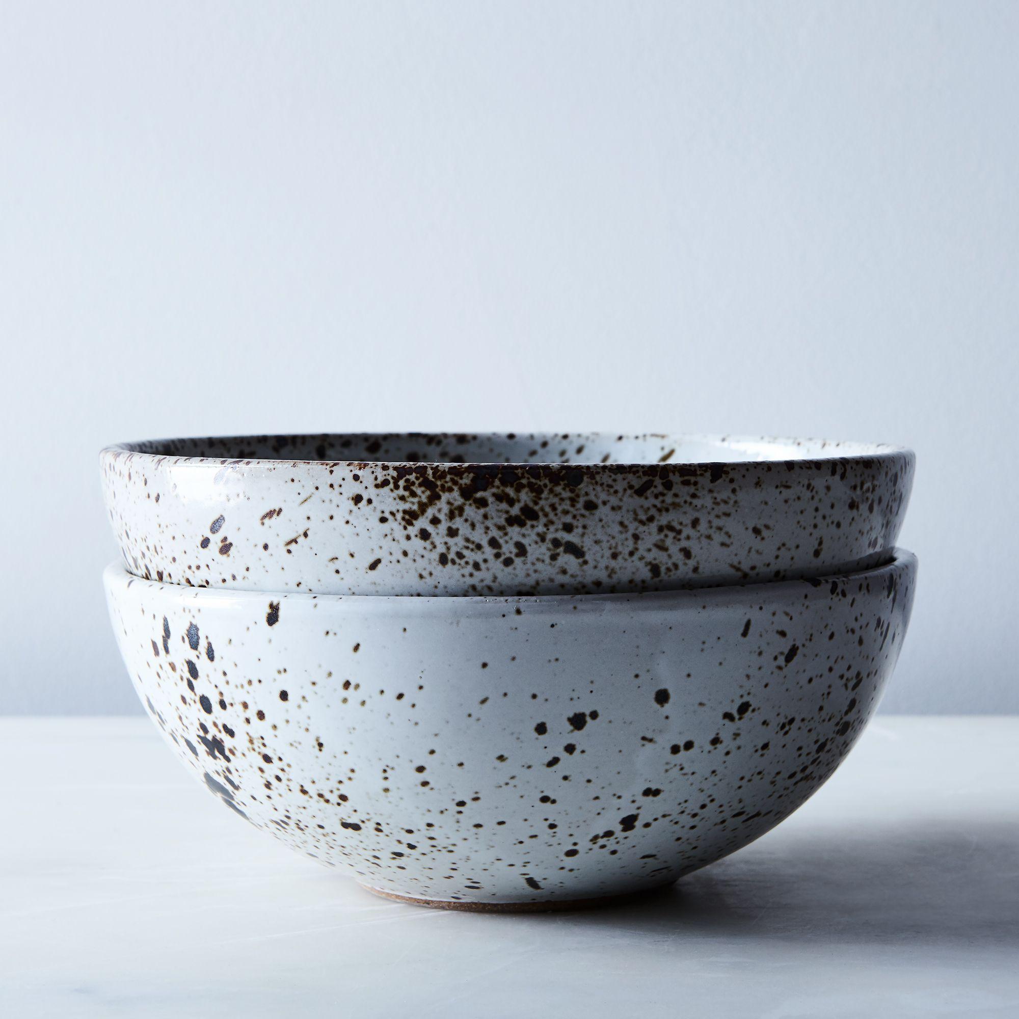 Sarah Kersten Handmade Ceramic Dinnerware (Set of 2) - Speckled, Ramen Bowl