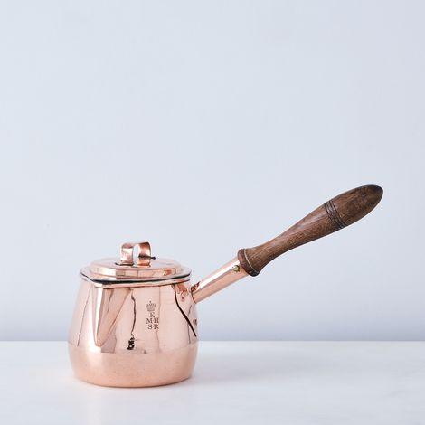Vintage Copper Pot Bellied Saucepan With Crown, Mid 19th Century