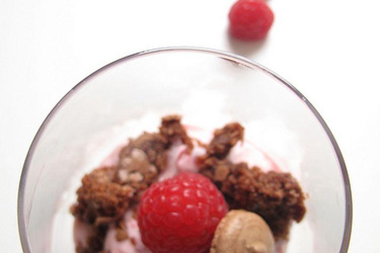 Chocolate and Raspberry Macaron/Meringue Mess