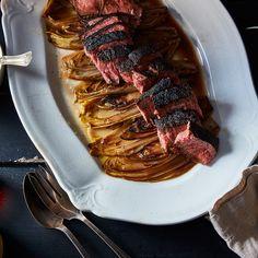Steak with Braised Endive and Horseradish Cream