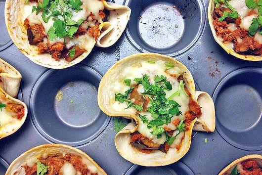 Spicy Chicken Eggplant Enchilada Cups
