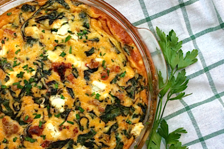 Sausage, Swiss Chard and Goat Cheese Frittata