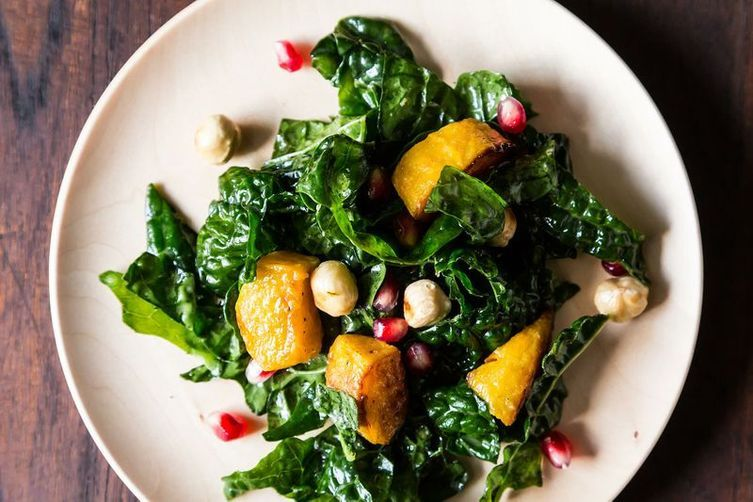 Hearty Kale Salad with Kabocha Squash, Pomegranate, and Toasted Hazelnuts, from Food52