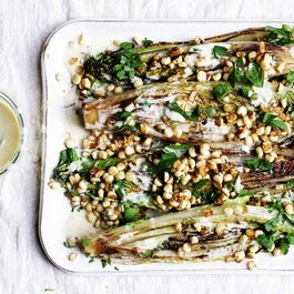 Grilled Romaine with Corn and Creamy Anchovy Garlic Vinaigrette
