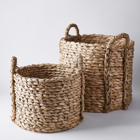 Hand-Braided Reed Floor Baskets with Handles