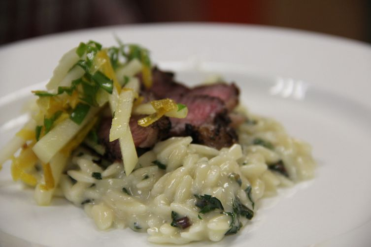 Tea Rubbed Lamb with Taleggio Orzo and Kohlrabi Slaw