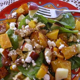 Roasted Butternut Squash, Spinach and Apple Salad with Walnuts and Feta