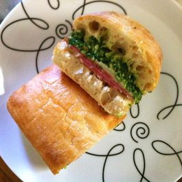Kale Pesto (on a German salami sandwich)