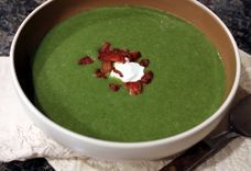 Potato and Spinach Soup with Bacon and Jalapeño