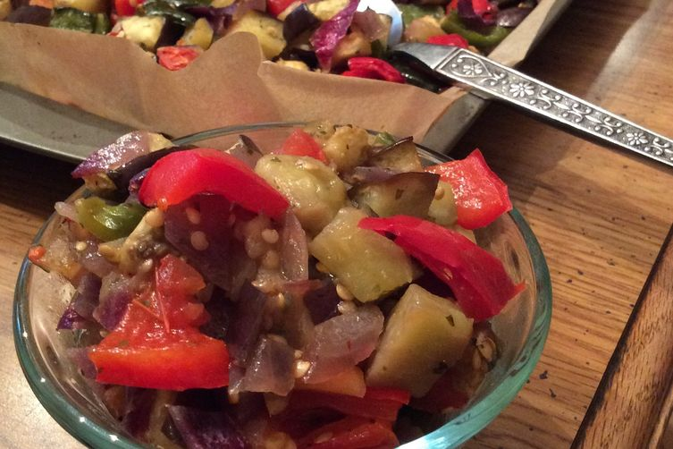 Chunky Roasted Peppers and Eggplant