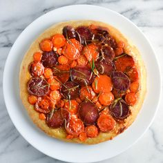 Carrot, Sweet Potato, and Purple Potato Tart Tatin